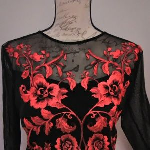 New never worn embroidery tank under sheer blouse